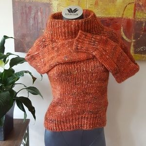 MOTH ITALY wool alpaca mock neck rust orange XS